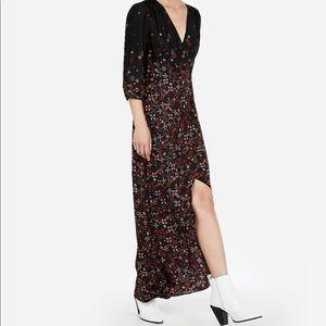 Printed Hi-Lo Fit and Flare Maxi Dress